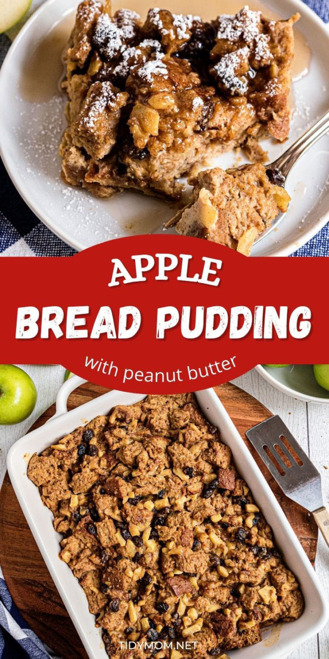 A pan of peanut butter apple bread pudding and a serving on a white plate