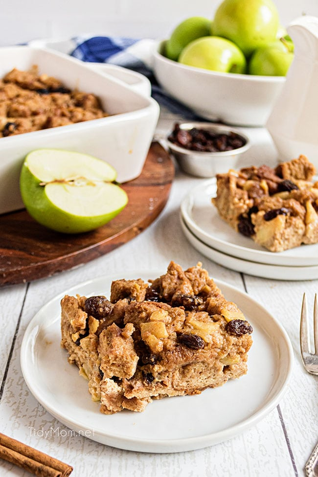 peanut butter apple bread pudding on plates
