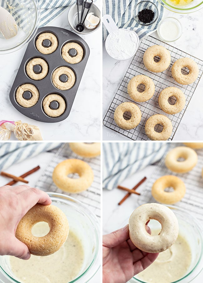 photo collage of how to make glazed cinnamon donuts in a donut pan