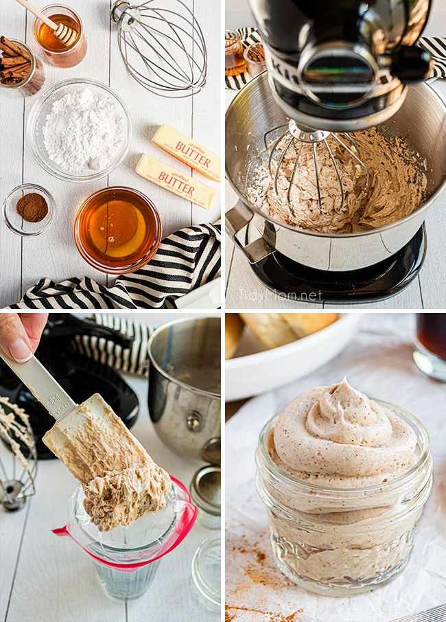 photo collage of how to make cinnamon honey butter