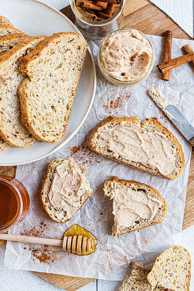 bread with homemade cinnamon honey butter