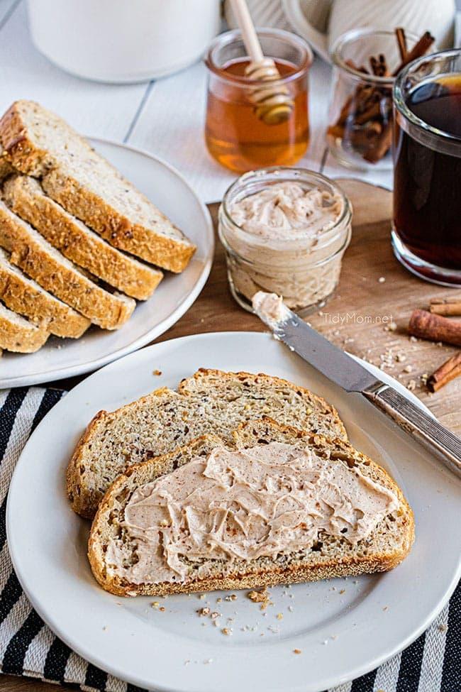 homemade honey butter spread on bread