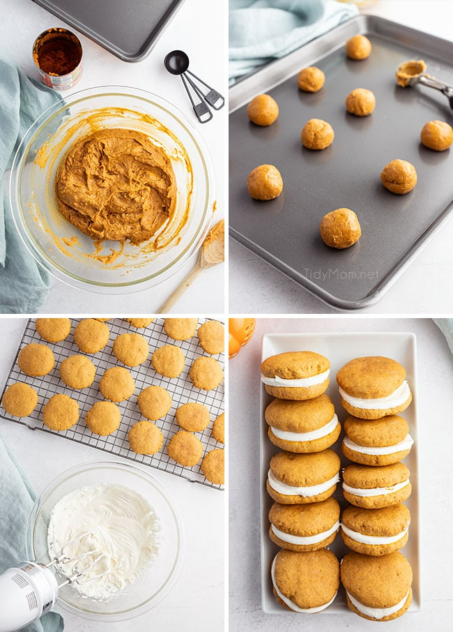 photo collage of how to make homemade pumpkin whoopie pies