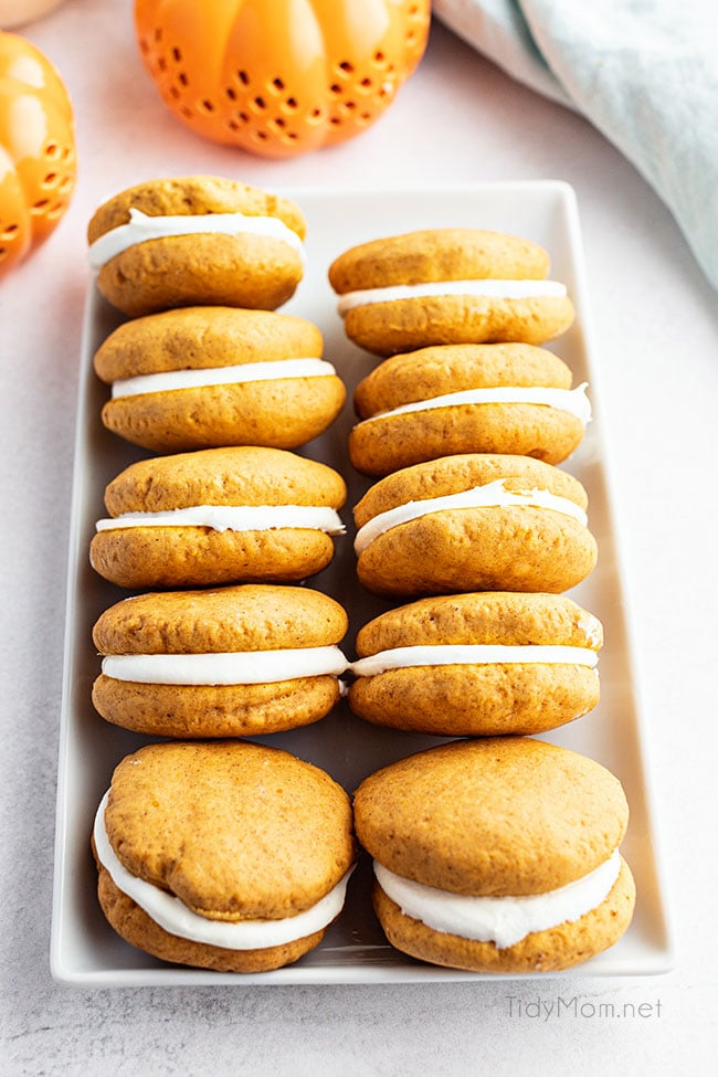 homemade pumpkin whoopie pies in on a tray