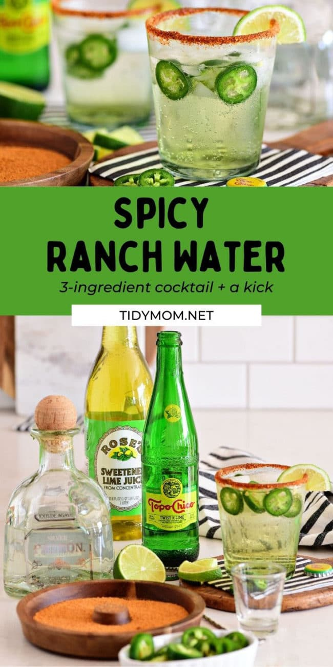ranch water in a glass and the ingredients on a counter