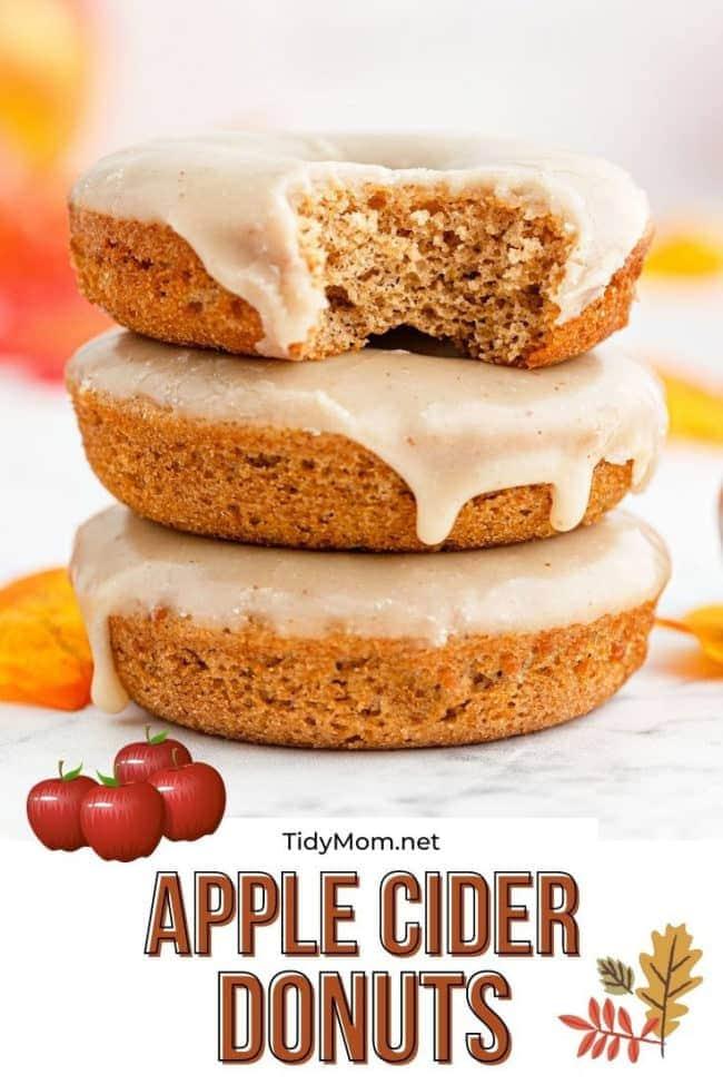 a stack of glazed apple cider donuts