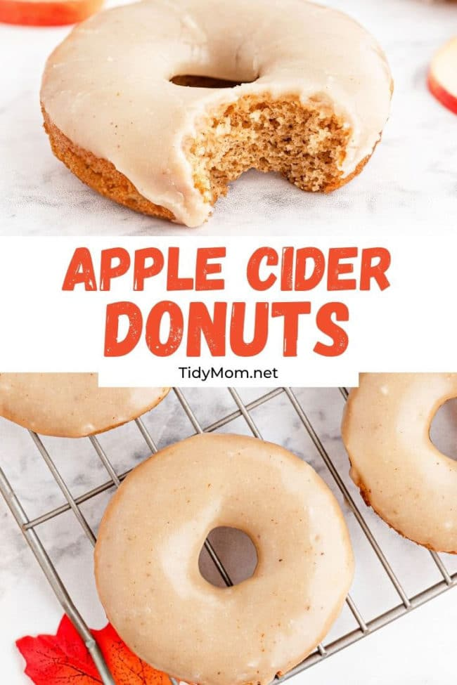 apple cider donuts with a bite out of one.