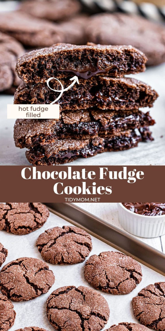 chocolate fudge cookies on baking sheet on the counter