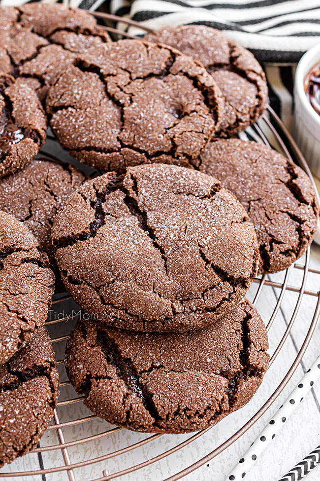chocolate fudge cookies on a cooling rack