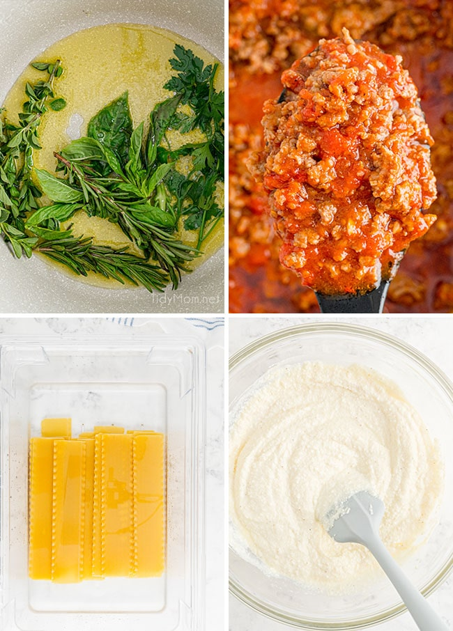 photo collage of how to make lasagna at home