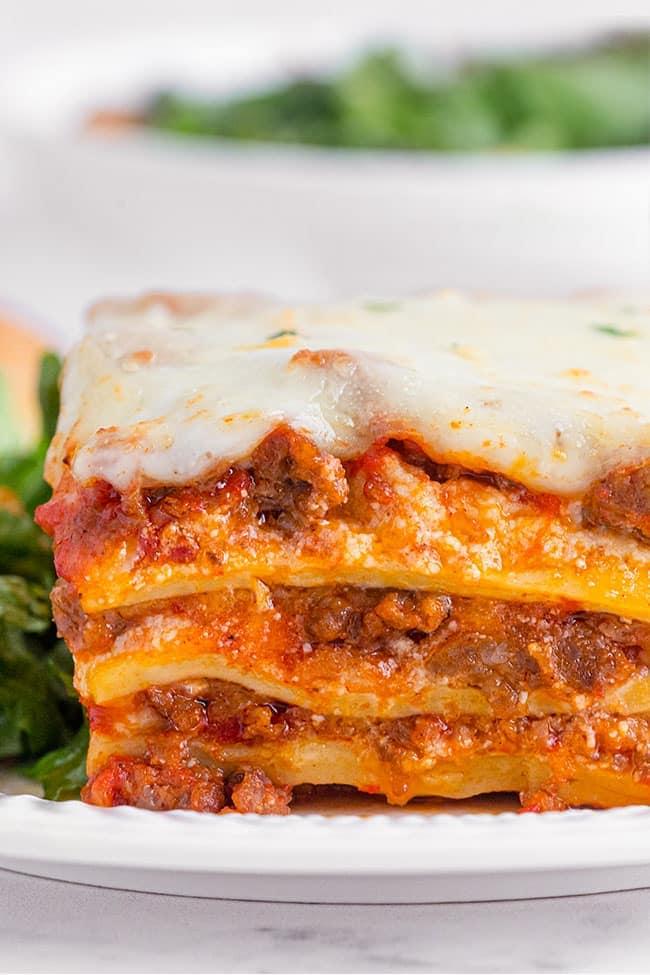 close up of Homemade Lasagna layers