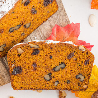 a piece of pumpkin bread sliced from the loaf