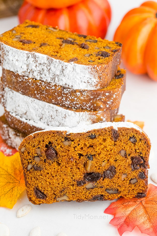 a stack of slices of pumpkin bread