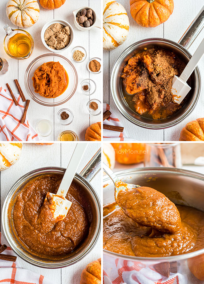 photo collage of how to make pumpkin butter on the stovetop