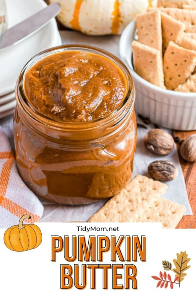 homemade pumpkin butter in a jar with crackers