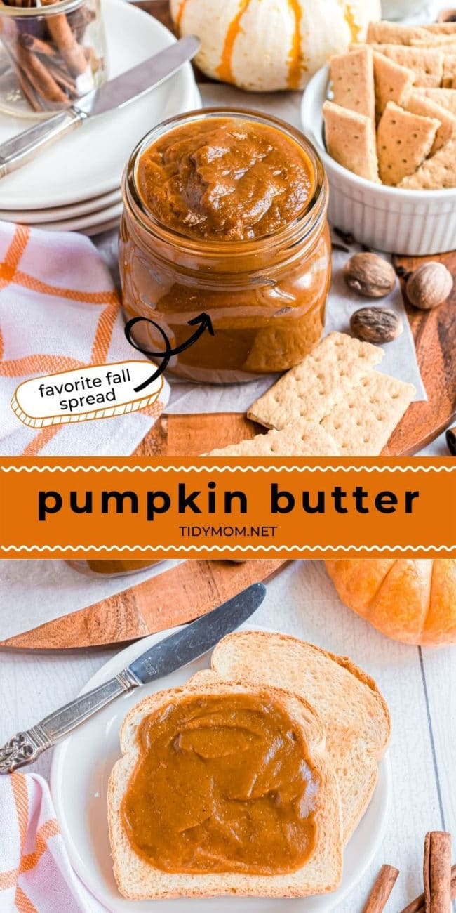 pumpkin butter in a jar and on a piece of bread