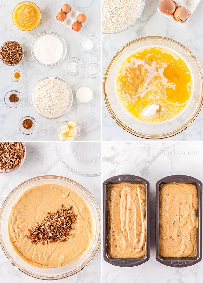 photo collage of how to make homemade apple bread