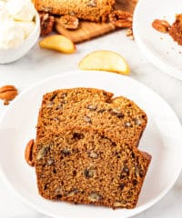 two slices of cinnamon apple bread on a plate