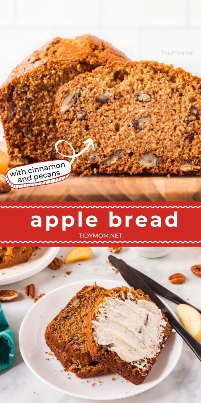 sliced cinnamon apple bread with pecans on a plate
