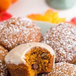 glazed pumpkin muffin with a bit missing