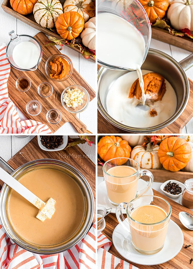 photo collage of how to make pumpkin hot chocolate