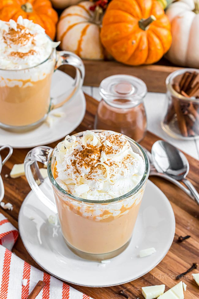 2 glass mugs of pumpkin spice hot chocolate with whipped cream