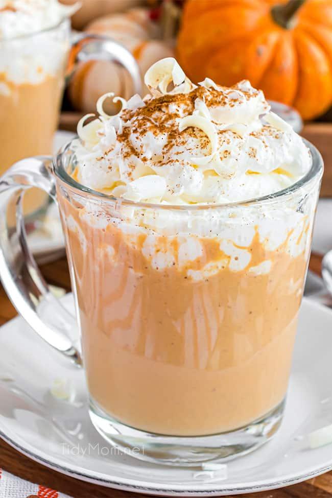 pumpkin spice hot chocolate in a glass mug